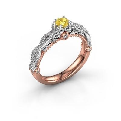 Foto van Verlovingsring Chantelle 585 rosé goud gele saffier 4 mm