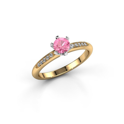 Bild von Verlobungsring{ucf Tiffy 2 585 Gold Pink Saphir 4.7 mm