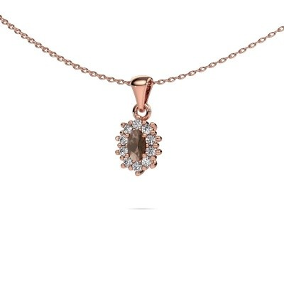Picture of Necklace Leesa 375 rose gold smokey quartz 6x4 mm