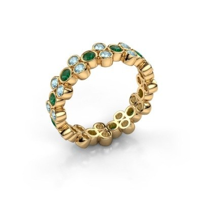 Ring Victoria 375 gold emerald 2.4 mm