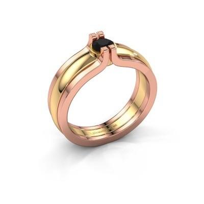 Bild von Ring Jade 585 Gold Schwarz Diamant 0.30 crt