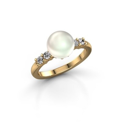 Foto van Ring Cecile 375 goud witte parel 8 mm