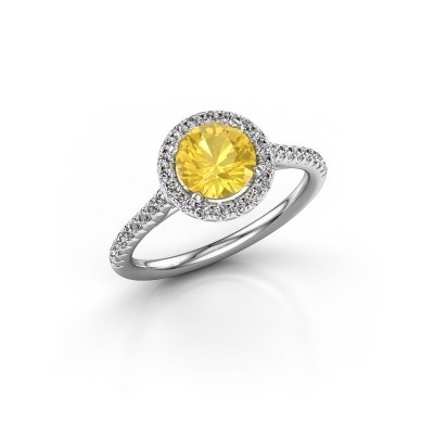 Picture of Engagement ring Seline rnd 2 950 platinum yellow sapphire 6.5 mm