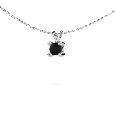 Foto van Hanger Fleur 375 witgoud zwarte diamant 0.60 crt