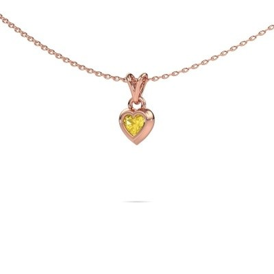 Foto van Hanger Charlotte Heart 375 rosé goud gele saffier 4 mm