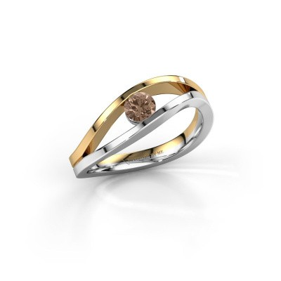 Foto van Ring Sigrid 1 585 witgoud bruine diamant 0.25 crt