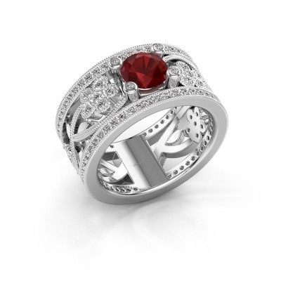 Photo de Bague Severine 585 or blanc rubis 6 mm