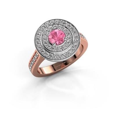 Ring Alecia 2 585 rosé goud roze saffier 5 mm