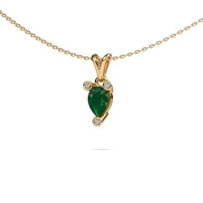 Foto van Ketting Cornelia Pear 375 goud smaragd 7x5 mm