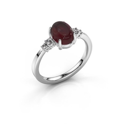 Ring Jelke 925 silver garnet 8x6 mm