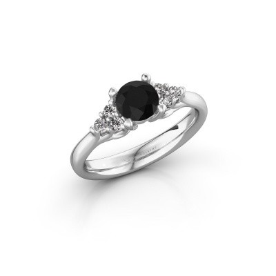 Foto van Verlovingsring Monika RND 585 witgoud zwarte diamant 0.93 crt