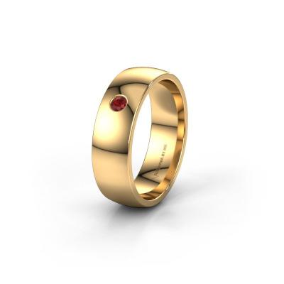 Foto van Trouwring WH0101L26AP 375 goud robijn ±6x1.4 mm