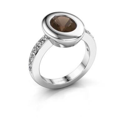Foto van Ring Selene 2 925 zilver rookkwarts 9x7 mm