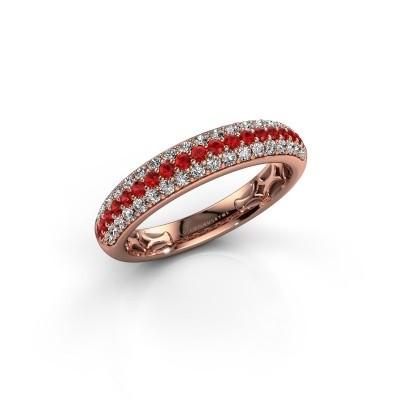 Ring Emely 4 375 rosé goud robijn 1.4 mm