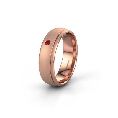 Trouwring WH0501L36AM 585 rosé goud robijn ±6x1.7 mm