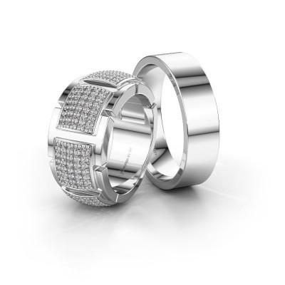 Foto van Trouwringen set WHR0054LM16AP ±10x1.7 mm 14 karaat witgoud diamant 0.005 crt