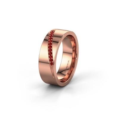Trouwring WH2146L17A 375 rosé goud robijn ±7x1.7 mm