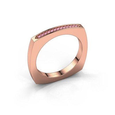 Stackable ring Ashley 375 rose gold pink sapphire 1 mm