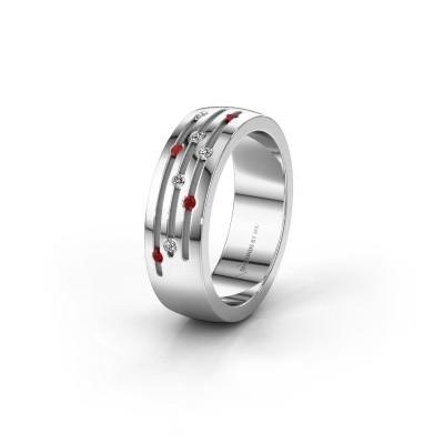 Trouwring WH0134L26B 925 zilver robijn ±6x2 mm