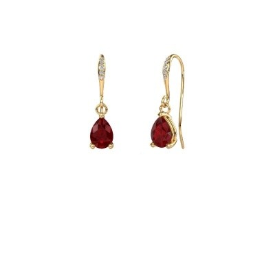 Picture of Drop earrings Laurie 2 585 gold ruby 7x5 mm