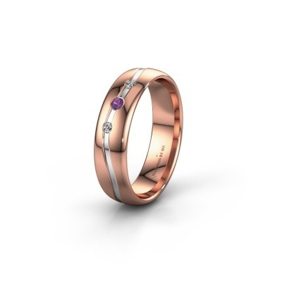 Friendship ring WH0907L35X 585 rose gold amethyst ±5x1.4 mm