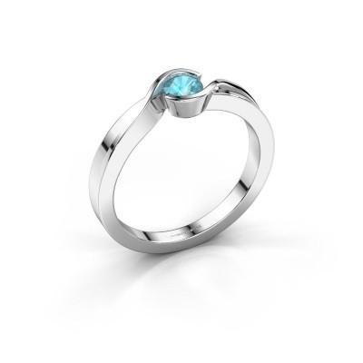 Foto van Ring Lola 585 witgoud blauw topaas 4 mm