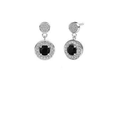 Foto van Oorbellen Ebonie 950 platina zwarte diamant 1.679 crt