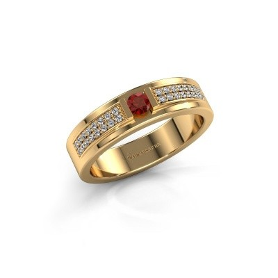 Ring Chanell 375 goud granaat 3 mm