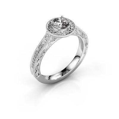 Bague de fiançailles Alice RND 585 or blanc diamant 0.50 crt