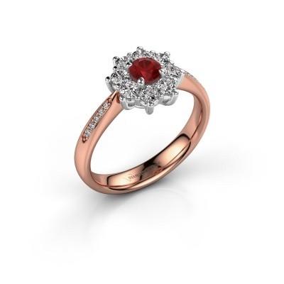 Verlovingsring Carolyn 2 585 rosé goud robijn 3.4 mm