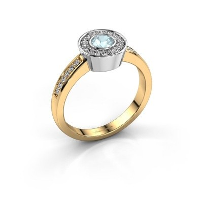 Photo de Bague Adriana 2 585 or jaune aigue-marine 4 mm