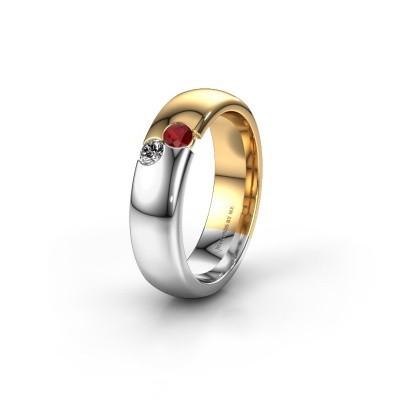 Trouwring WH1003L26C 585 goud robijn ±6x2.2 mm