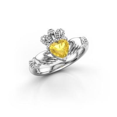 Bild von Ring Claddagh 2 925 Silber Gelb Saphir 6 mm