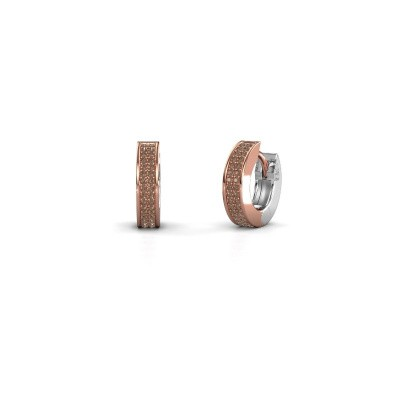 Foto van Creolen Renee 2 9 mm 585 rosé goud bruine diamant 0.50 crt