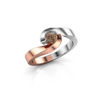Foto van Ring Sheryl 585 rosé goud bruine diamant 0.25 crt
