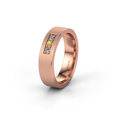 Wedding ring WH0110L15BM 375 rose gold yellow sapphire ±5x2 mm