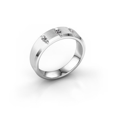 Mannen ring Justin 585 witgoud diamant 0.20 crt