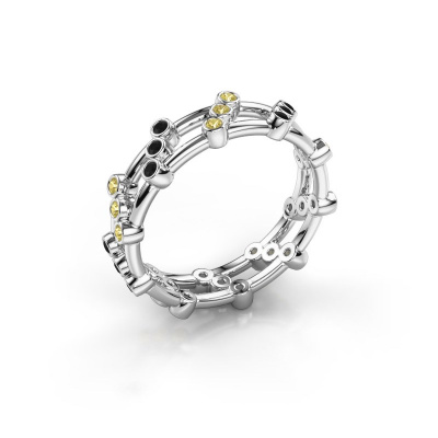 Bague Floortje 585 or blanc diamant noir 0.216 crt