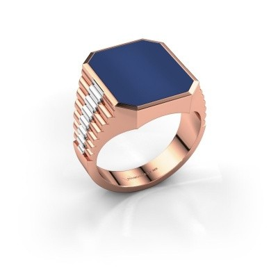 Foto van Zegelring Brent 4 585 rosé goud lapis lazuli 16x13 mm