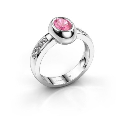 Ring Charlotte Oval 585 white gold pink sapphire 7x5 mm