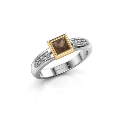 Stacking ring Lieke Square 585 white gold smokey quartz 4 mm