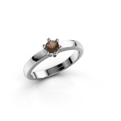 Engagement ring Luna 1 585 white gold smokey quartz 3.7 mm
