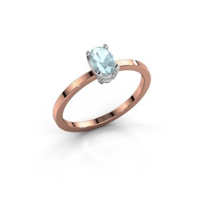 Picture of Ring Lynelle 1 585 rose gold aquamarine 6x4 mm