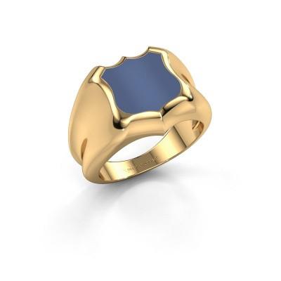 Foto van Zegelring Nevin 585 goud blauw lagensteen 12x12 mm