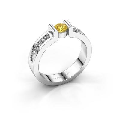 Verlovingsring Isabel 2 925 zilver gele saffier 4 mm