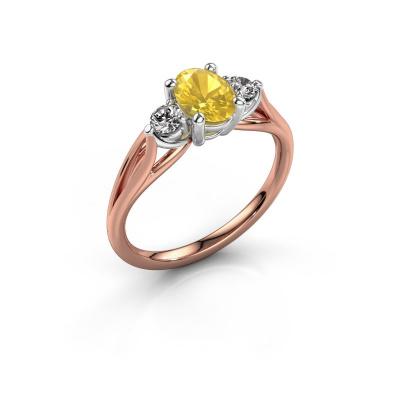 Foto van Verlovingsring Amie OVL 585 rosé goud gele saffier 7x5 mm