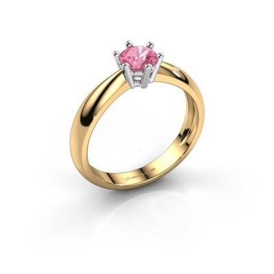 Verlovingsring Fay 585 goud roze saffier 5 mm