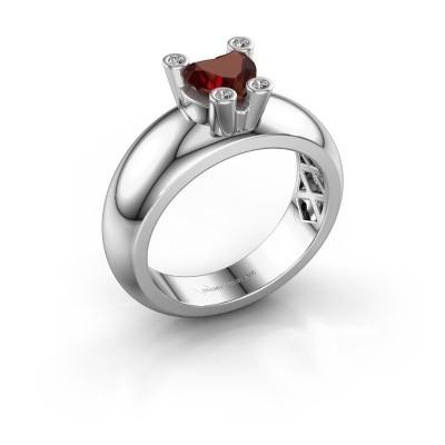 Ring Cornelia Heart 925 Silber Granat 6 mm