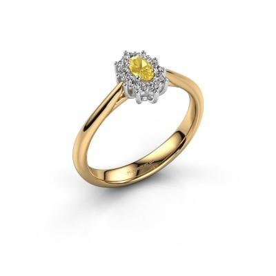 Foto van Verlovingsring Leesa 1 585 goud gele saffier 6x4 mm
