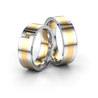 Foto van Trouwringen set WH2042LM17CP ±7x2.2 mm 14 karaat goud diamant 0.10 crt